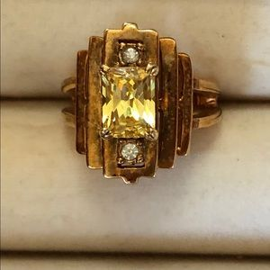 Jewelry - 18k gold plated citrine ring, Art Deco styling